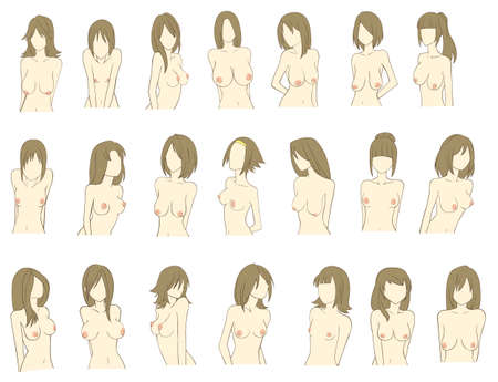 big breast: Various types of women breast  color