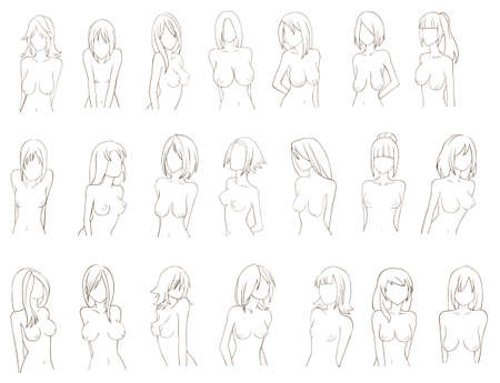 black breast: Various types of women breast  sketch , create by vector Illustration