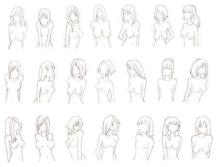 Verschiedene Arten von Frauen Brust Skizze, durch den Vektor erstellen