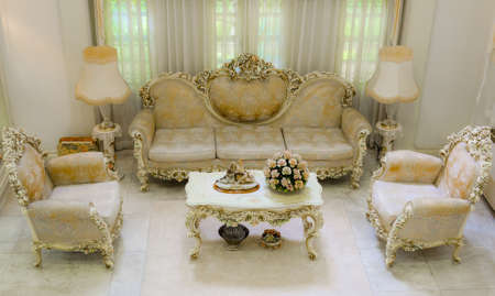Upper angle of a living room with a luxurious and classical style  photo