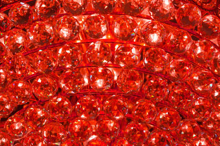 Closeup of a ruby crystal pattern from a Chandelier photo
