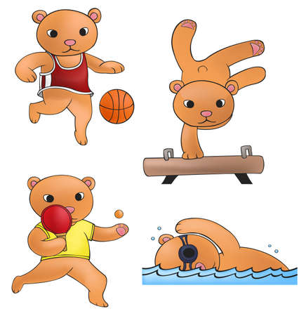 Sport mascot bear collection  Vector