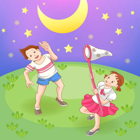 firefly:  Two children is catching stars in the field, create by vector (soft grass version)