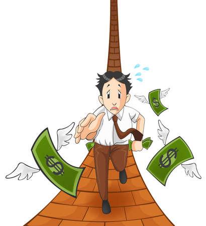 business shirts: El dinero est� volando fuera del bolsillo. Es a causa de la inflaci�n, la recesi�n econ�mica, o p�rdida de negocio? (Versi�n path) Vectores