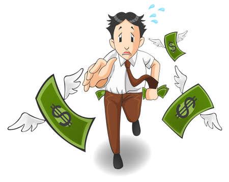 L'argent vole loin de la poche. C'est à cause de l'inflation, récession économique, ou perte de l'entreprise?