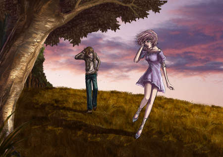 fashion story: Fantasy drawing  Cute couple is walking along the beautiful field on the hill