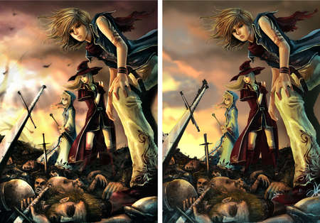 Fantasy drawing  Three great wizards are standing on the pile of corpse  with burning sky and normal sky version