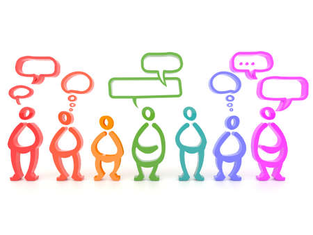 thought bubble: Different colorful people, different thoughts in 3D symbol