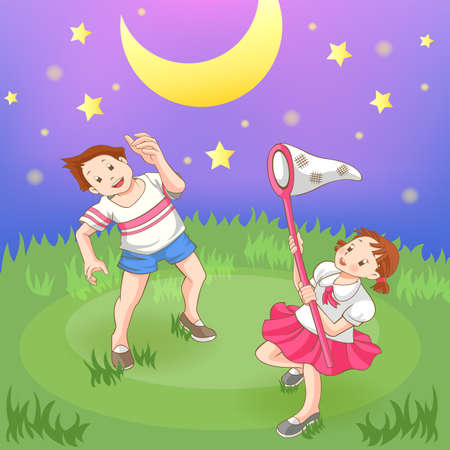 Two children is catching stars in the field, create by vector Illustration