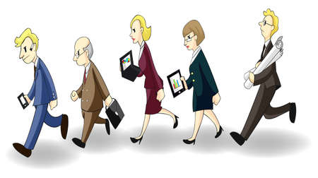 Row of busy businessmen and women, create by vector Vector