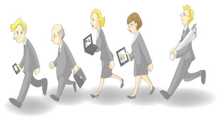 Row of busy businessmen and women, create by vector (grey suit version) Vector