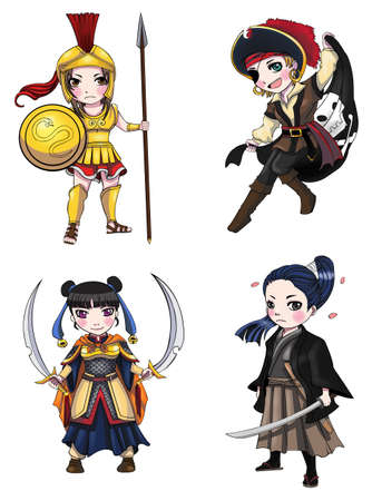 pirate cartoon: Warriors girl from various culture set 1, create by vector