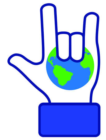 banner of peace: Hand love earth symbol, create by vector