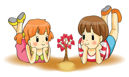 sign  childhood: Cute children couple watch a heart plant growing  Love will grow from childhood to adult