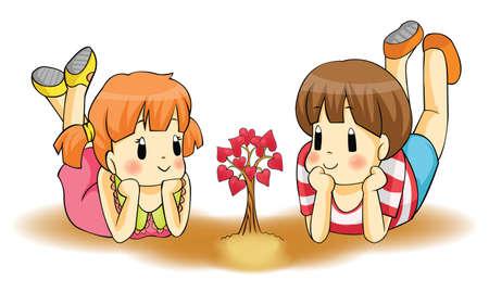 frau nach oben schauen: Nette Kinder Paaruhr ein Herz Pflanze w�chst Liebe wird von der Kindheit zum Erwachsenenalter wachsen