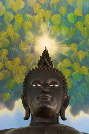 living things: Buddha statue looking down kindly with an aura on this head shining to console all living things  Stock Photo