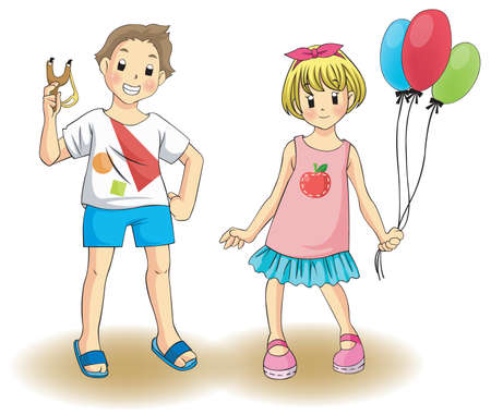 Cute boy and girl in a private costume, create by vector Vector