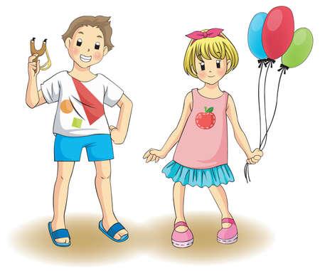 Netter Junge und Mädchen in einem privaten Kostüm, durch den Vektor erstellen Vektorgrafik