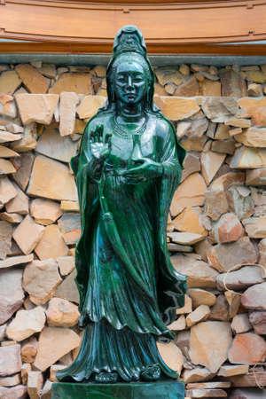 quan yin: World biggest jade Quan Yin Bodhisattva in wat Dhammamongkol, Thailand