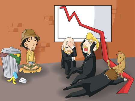 Bankrupt changing business owner or ceo status into beggar, create by vector Stock Vector - 19805502