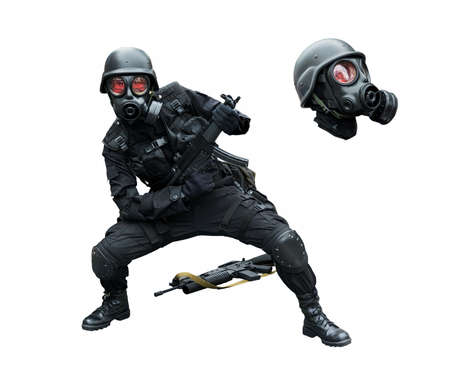 Special force soldier wearing gask mask posing funny in isolation background photo