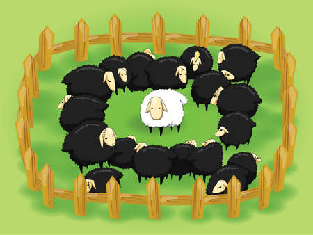 White sheep in the flock of black sheep. In this day nice, kind, unselfish, and pure people are in the black sheeps society, and they are hard to survive.   Vector