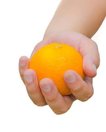 Here is an orange for you. A person is handing an orange for you. Stock Photo - 19986580