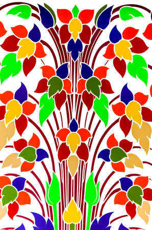 2d wallpaper: Colorful flower background using Thai-art style Stock Photo