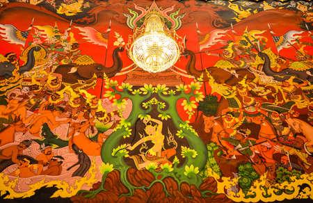 Goddess of the Earth protecting the Buddha mural painting 版權商用圖片