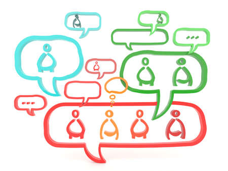 wider: Network is working via gossip and referral wider and wider. The idea is represent through 3D symbol.