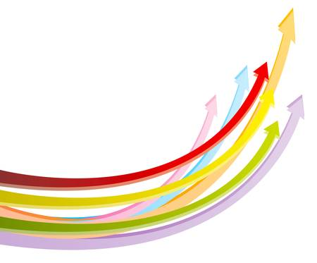 Colorful arrows in white background, create by vector Vector
