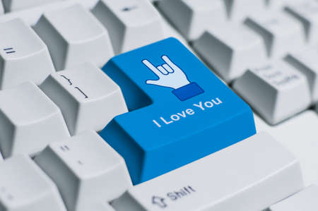to confess love: A finger sign for saying  I love you  on the keyboard  This is fully social media era
