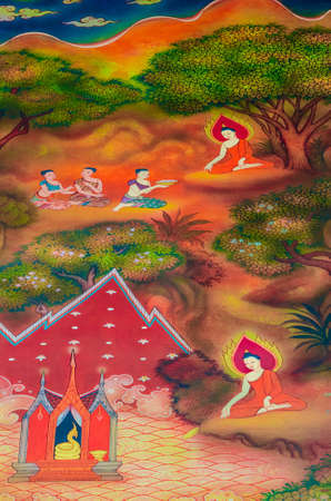 wall mural: Siddhattha have a clear determination in his goal  So he put a tray in the river and wish for success in his objective  The sea serpent performs a miracle to ensure that his wish will come true