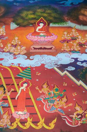 agradecimiento: Despu�s budismo es bien conocido en todo muchos reinos El Buda deciden a predicar a su madre en el cielo Esto representa la virtud clara de gratitud, es tambi�n en monkshood Las citas de buda que el agradecimiento es una cualificaci�n de una persona buena Foto de archivo