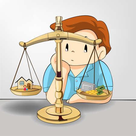 mujer estres: Peso entre el trabajo-dinero y su relaci�n familiar. Si no es posible perder una cosa (vector)