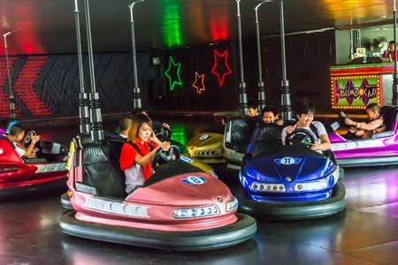 BANGKOK, THAILAND - 5 JUNE 2013: Children play bump car in in Dream World amusement park on June 5, 2013. Editöryel
