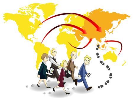 チャンスとアジアでお金を求めているビジネス人々 のグループ