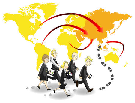 Group of business people seeking chance and money in Asia Stock Vector - 20218317
