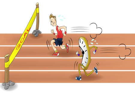 rythme: Man course avec le temps Tout le monde a � la course avec d�lai de r�ponse � ces jours Illustration