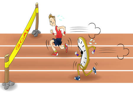 self improvement: Man racing with time  Everyone have to race with time limit in these days   Illustration