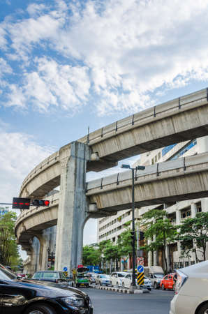 decides: BANGKOK, THAILAND - JUNE 8: Thai government decides to build more BTS station for traffic jam solution in Bangkok on June 8, 2013. BTS is the name of the skytrain which located above the ground street. Editorial