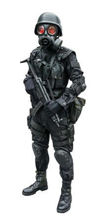 Special force soldier wearing gask mask standing in isolation background