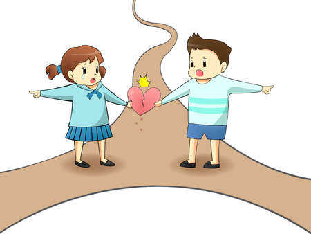 When a lover is on different path, will it destroy their relationship? create by vector Stock Vector - 20270963