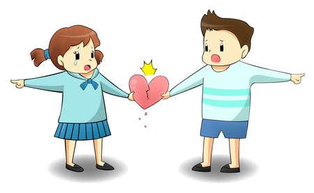 psicologia infantil: Cuando un amante está en camino diferente, va a destruir su relación? crear por el vector Vectores