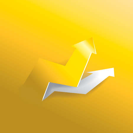 top pointer: Arrow business graph peeling up from gold paper background, create by vector Illustration