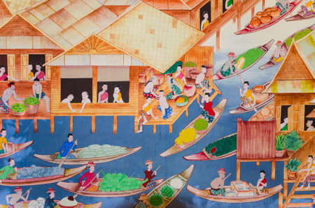 wall mural: Mural painting of Thai old lifestyle 300 years ago  People are living with water  Editorial