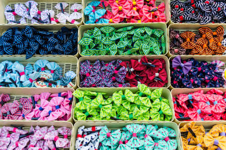 hair clip: Colorful ribbons with various styles in Thailand open market Stock Photo