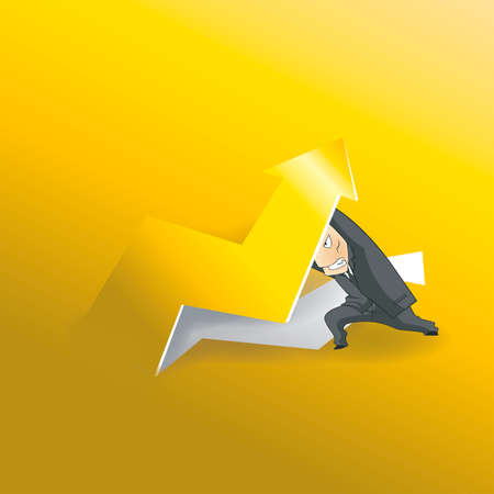 workload: Businessman lifting up gold arrow  from gold paper background, create by vector