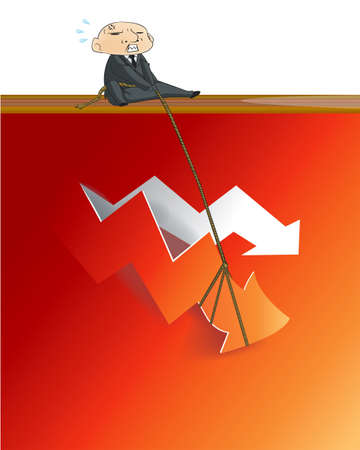 critical: Businessman lifting up gold red  from red critical graph