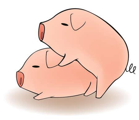 sex man: Two cartoon pigs having sex